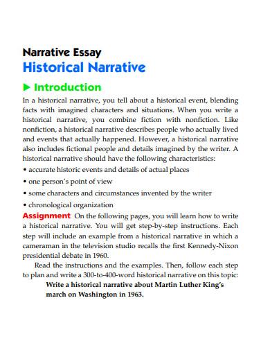 narrative historical assignment essay