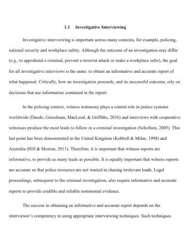 narrative investigative interview report