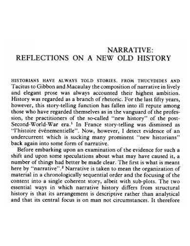 narrative reflection of history essay