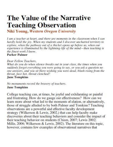 narrative teaching observation essay