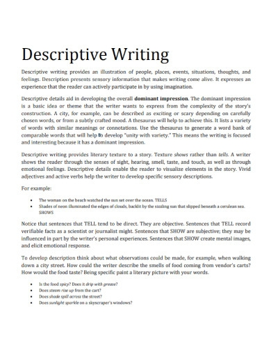 new descriptive writing