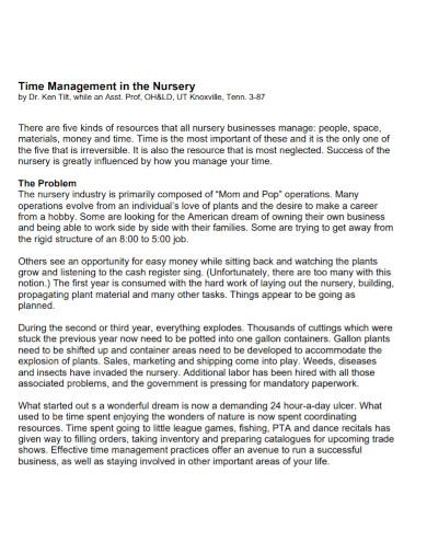nursery time management goal
