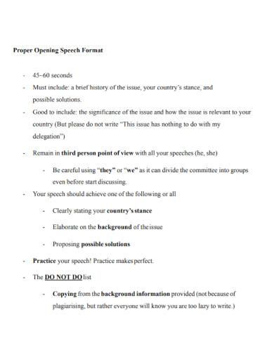 opening speech format