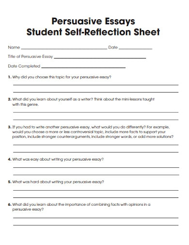persuasive essay student self reflection sheet