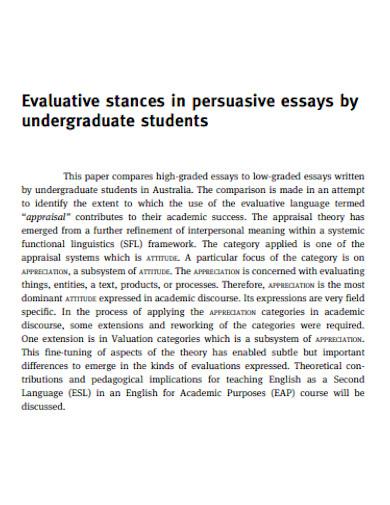 persuasive essay for undergraduates students