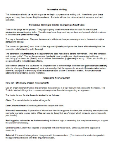 persuasive writing essay for students