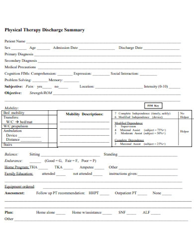 physical therapy discharge summary report