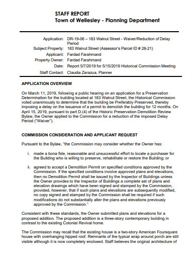 planning department staff report