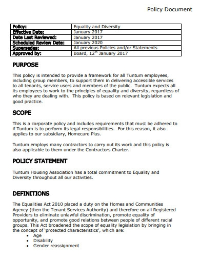 policy document scope statement