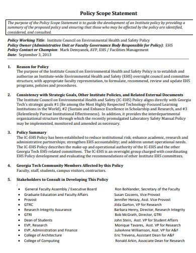 policy scope statement template