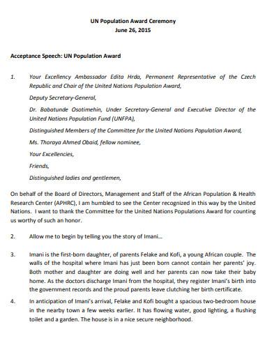 population award ceremony speech