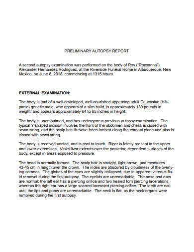preliminary autopsy report
