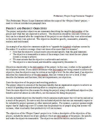 preliminary project scope statement