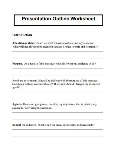 presentation outline worksheet