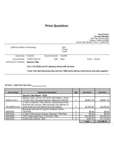 price quotation templates