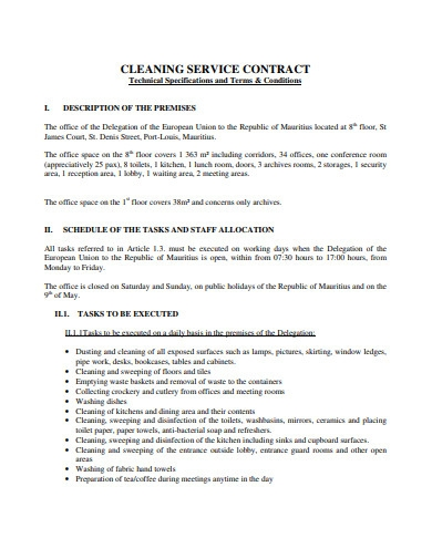 printable cleaning service contract