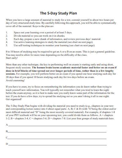printable five day study plan