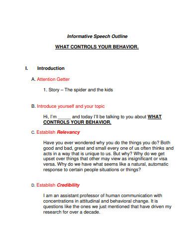 printable informative speech outline