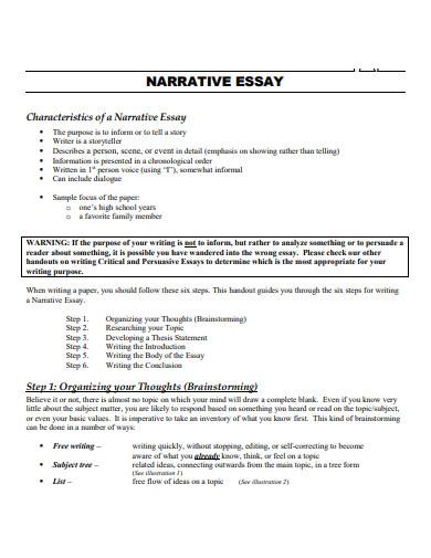 printable narrative essay outline