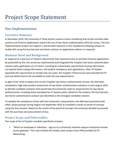 printable project scope statement