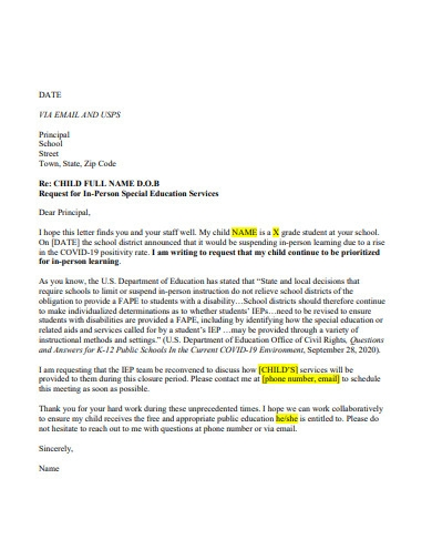 printable request letter to principal
