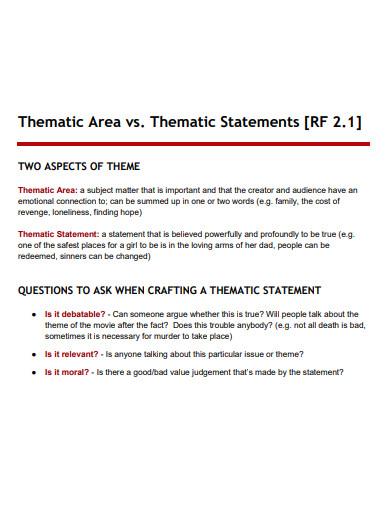 printable thematic statement