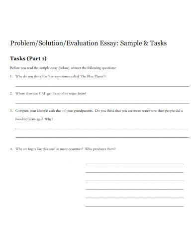 problem solving evaluation essay