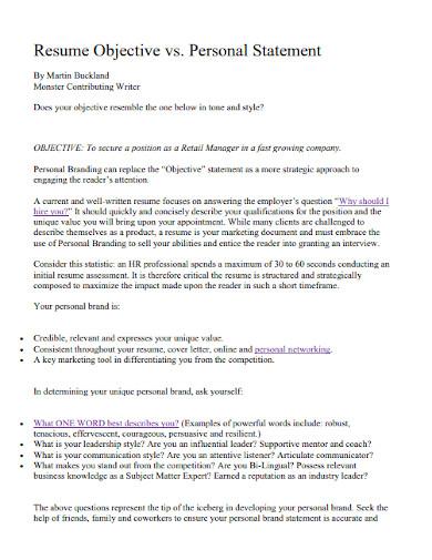 professional resume objective statement