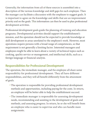 professional development plan for manager