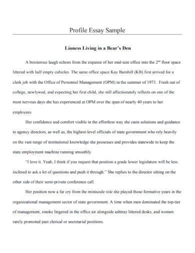 profile essay example