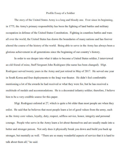 profile essay of a soldier