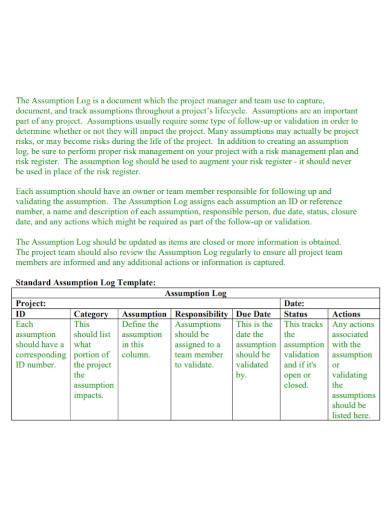 project management assumption log