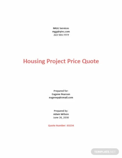project price quotation template