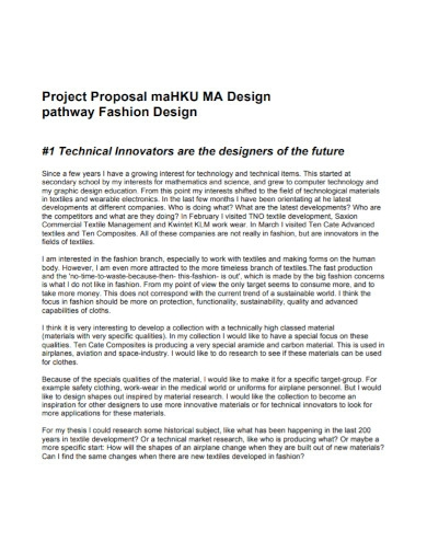 project proposal for fashion design