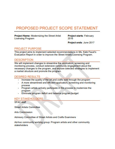 proposed project scope statement