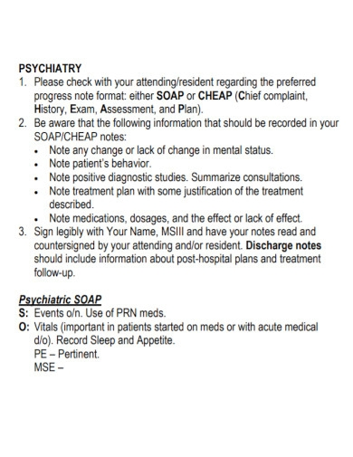 psychiatric clerkship soap note