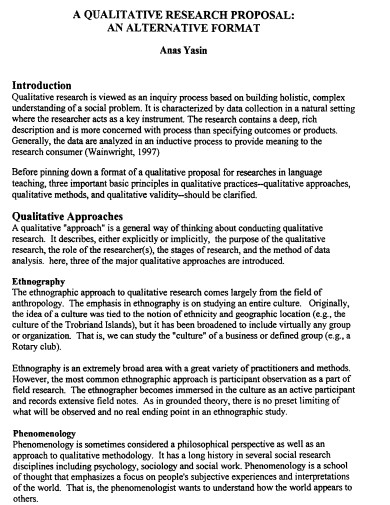 qualitative research proposal format