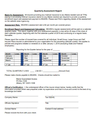 quarterly assessment report