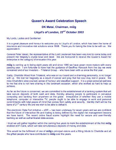 queens award celebration speech