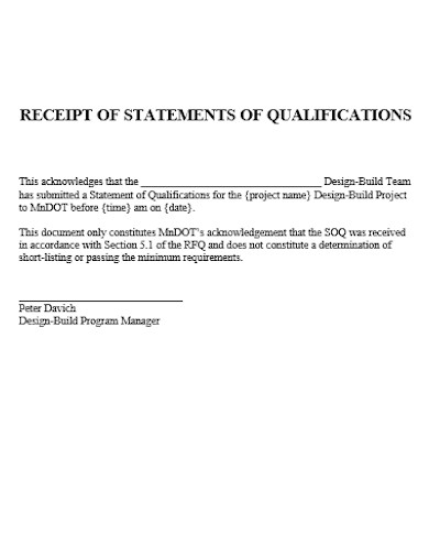 receipt of statement of qualifications