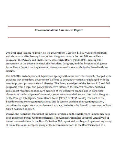 recommendations assessment report