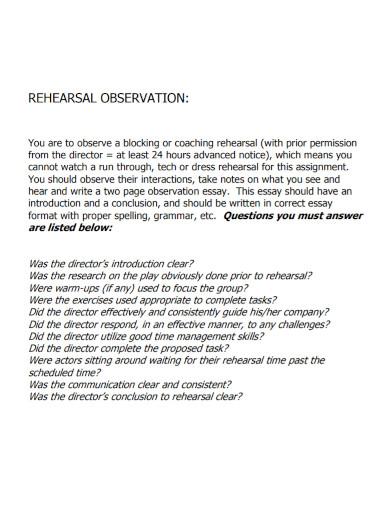 rehearsal observation essay