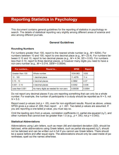 reporting statistics in psychology