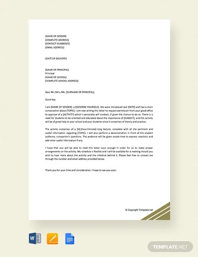 request letter to principal for permission template