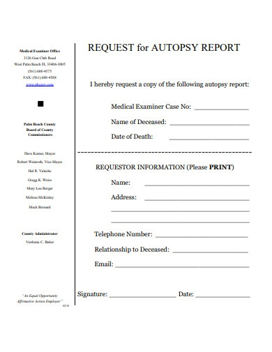 request for autopsy report