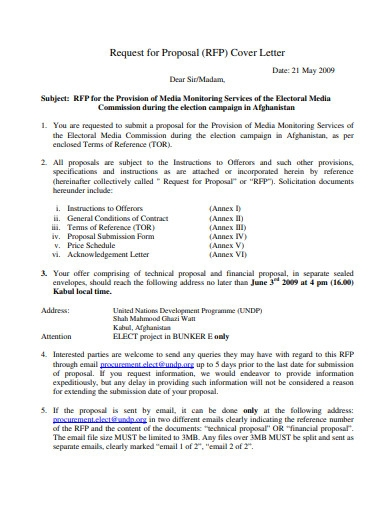 request for proposal cover letter
