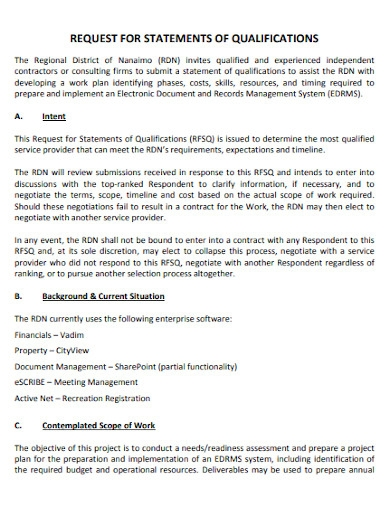 request for statement of qualifications