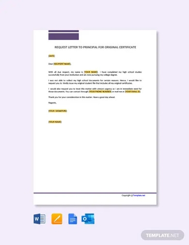 request letter to principal for original certificates template