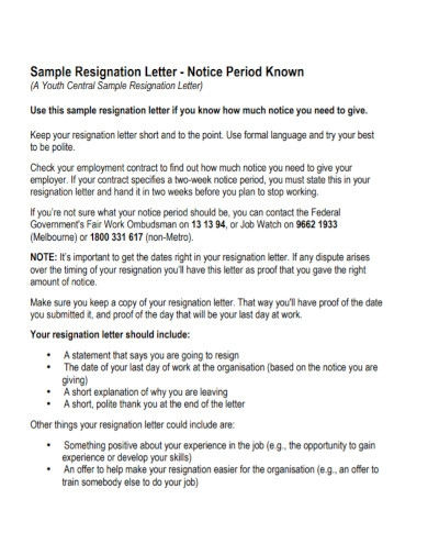 resignation letter with 30 day notice example