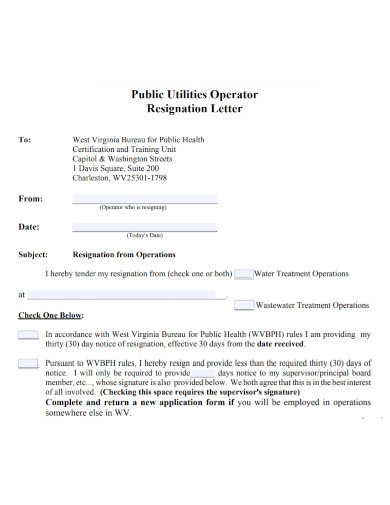 resignation letter with 30 day notice form